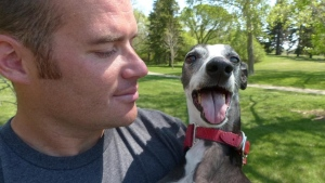 Rob McLeod (left) and his dog Davy Whippet hold two world records together. (Mike Zartler/CBC)
